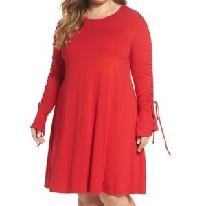 Glamorous Curve Red Size 20 Long Sleeve Dress